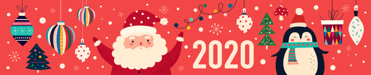 Fotomurales - Vector Christmas cartoon illustration of cute penguins and funny Santa Claus. 2020 Happy New Year