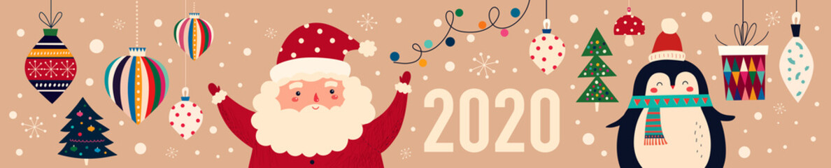 Vector Christmas cartoon illustration of cute penguins and funny Santa Claus. 2020 Happy New Year
