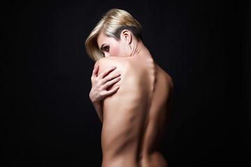 Female back. Naked beautiful Girl. Short Hair Girl