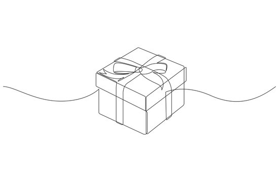 Continuous line drawing of gift box with ribbon bow. Template for your design works. Vector illustration.