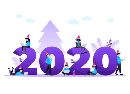 Flat design New Year vector concept. Preparing to meet 2020 new year. Business people with the numbers 2020. Company team are preparing to meet the new year over purple background