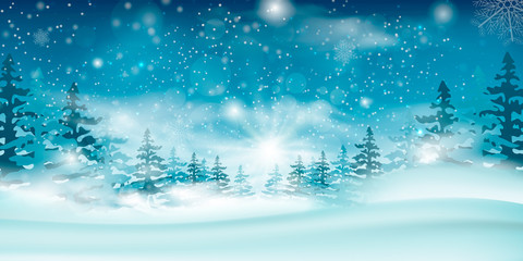 Winter blue sky with falling snow, snowflakes with a winter landscape with a full moon.