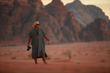 Man in Wadi rum desert in Jordan