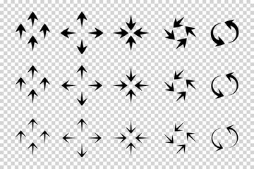 Arrows vector. Flat balck arrows isolated on transoarent background.