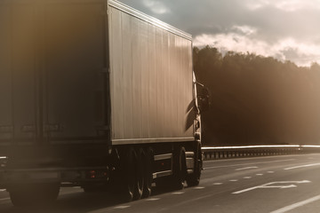 truck moves along the highway