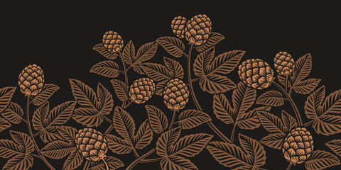 Vintage seamless hop pattern, a decoration for beer theme