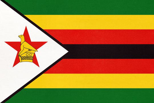 Republic of Zimbabwe national fabric flag, textile background.