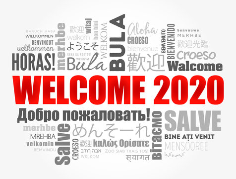 WELCOME 2020 word cloud in different languages, conceptual background