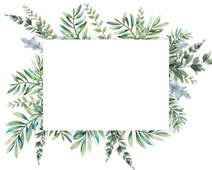 Watercolor greenery card design. Hand painted floral template: plants frame on white background.