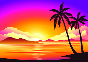 Vector image, background beautiful sunset on the beach