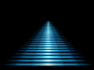 Luminous blue staircase leading up on a black background