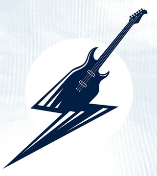 Electric guitar in a shape of lightning, hot rock music, Hard Rock or Rock and Roll concert or festival label, night club live show band performance, vector logo.