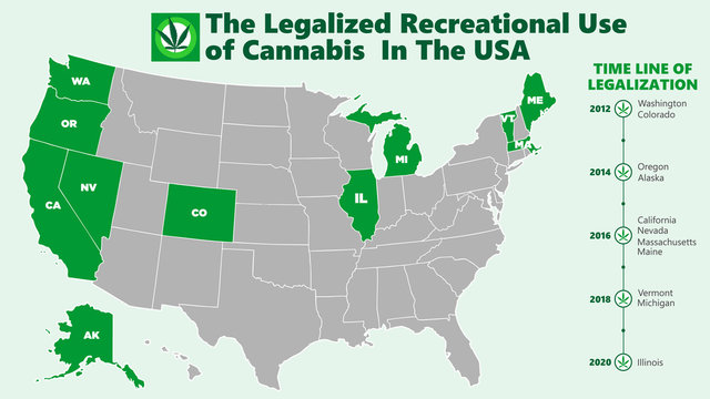 the legalized recreational use of marijuana (ganja) in the USA map infographic style illustration