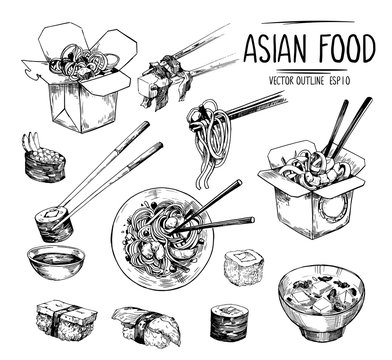 Asian food sketches. Sushi, miso soup, wok noodles. Vector set isolated on white background