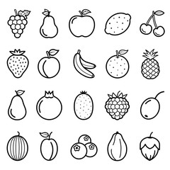 Fruits Vector Line Icons Set