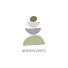 Obraz Zen stones flat vector illustration. Balance, mindfulness and harmony concept - fototapety do salonu