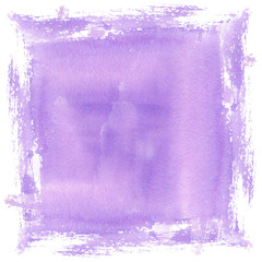Lilac purple watercolor spot transparent blur close-up. Hand illustration isolated on white background for design background, template, wedding, congratulations, invitations.