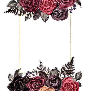 Watercolor dark roses floral border, vintage victorian gothic style. Burgundy, red, maroon and black rose wreath with golden geometric frame, isolated on white background with space for text.