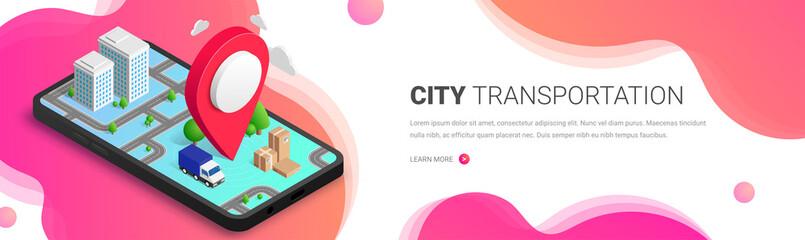 City transportation isometric fluid banner