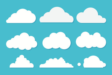 White clouds set on blue sky background. Vector illustration