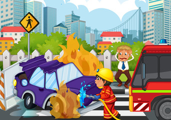 Accident scene with fireman and car on fire