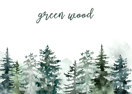 Winter wonderland background with pine and spruce trees on white backdrop. Christmas and New Year template, nature green snowy forest illustration. Holiday frame for cards and banners design.