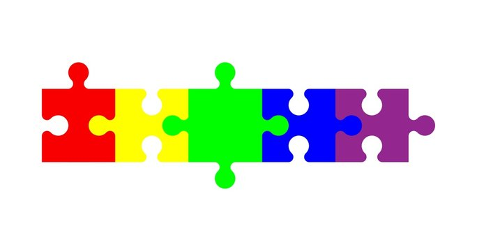 colorful jigsaw Five Part Puzzle Chain
