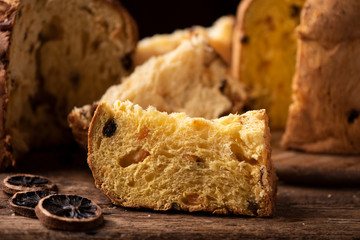 A slice of Panettone. Traditional italian christams cake panettone