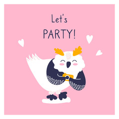 Greeting card with icon of cute owl. Character hand drawn style on happy new year poster. Funny animal takes pictures.