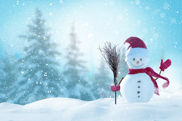 Photo sur Plexiglas Piscine Merry christmas and happy new year greeting card with copy-space.Happy snowman standing in christmas landscape.Snow background.Winter fairytale.