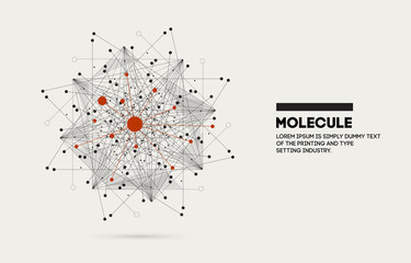 Molecule star. Innovations molecular systems intuitive thinking and development technologies in automatics cyborg systems and chemical industry. Future technologies geometry style.