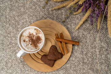 Mug of hot chocolate indoors on a cozy blanket. Enjoying a warm drink on a cold winter day at home concept.