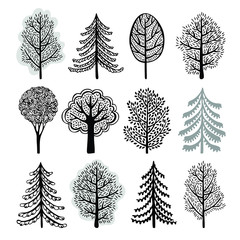 Vector set of tree, black and white illustration