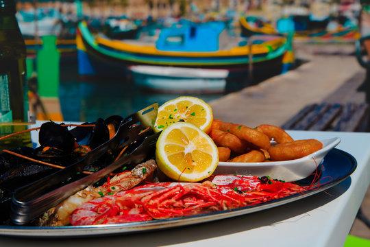 delicious fish platter served in mediterranean restaurant