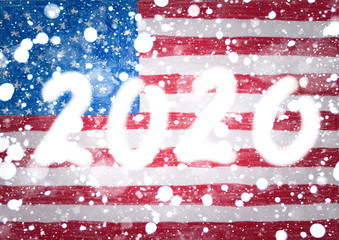 The 2020 New Year lettering is represented by a double exposure against a background of a children's drawing where she drew national flag of  United states of America
