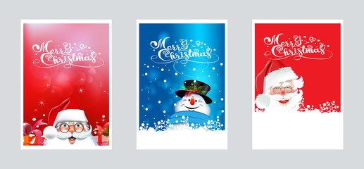 Christmas cards for your design. Three images with Santa Claus and snowman for Christmas and New year decoration