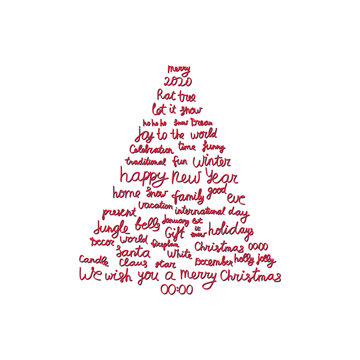 Background with Christmas and New Year holidays calligraphy. Modern Christmas tree consisting of phrases and words. Holiday tree for using in banner, poster, greeting card or print on textile