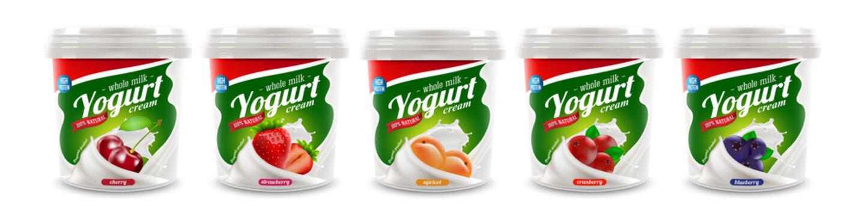 set of yougurt brand new packaging isolated design for milk, yogurt or cream product branding or advertising design