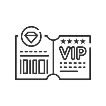 VIP ticket line black icon. Customer privilege web exclusive badge. Premium card for concert, cinema, movie, party, event, dance, festival Button for web or mobile app.