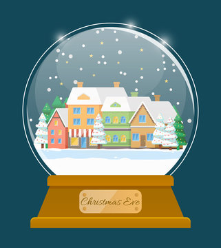 Christmas eve snowglobe with building and fir-tree. Postcard snowball with snowflakes on house and tree. Winter holiday card decorated by glass ball with snow on roof of construction and wood vector