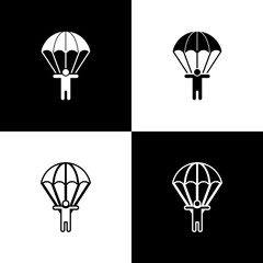 Set Parachute and silhouette person icon isolated on black and white background. Vector Illustration