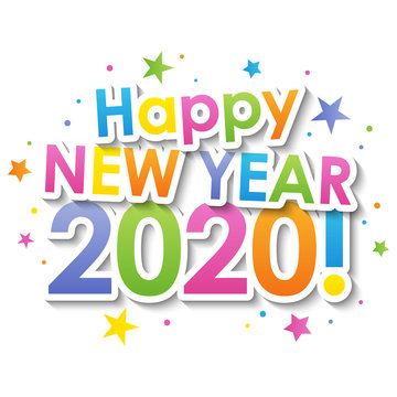 HAPPY NEW YEAR 2020! vector colorful typography banner