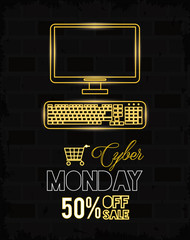 cyber monday day poster with desktop