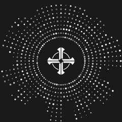 White Celtic cross icon isolated on grey background. Happy Saint Patricks day. Abstract circle random dots. Vector Illustration