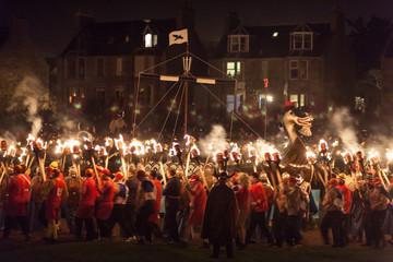 Traditional burning of viking ship, Up Helly Aa festival, Lerwick, Shetland Islands, Scotland