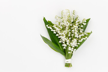 Lilly of the valley flowers and leaves bouquet