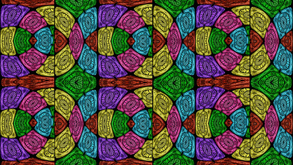 Multicolored ethnic fabric, rounded shapes