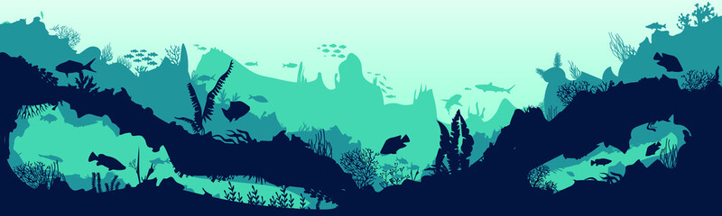 Foto auf Leinwand Reef grun Sea scene with the underwater world. Coral reefs. Tropical sea with water mimicry and its inhabitants. Silhouette of fish and algae. Vector.