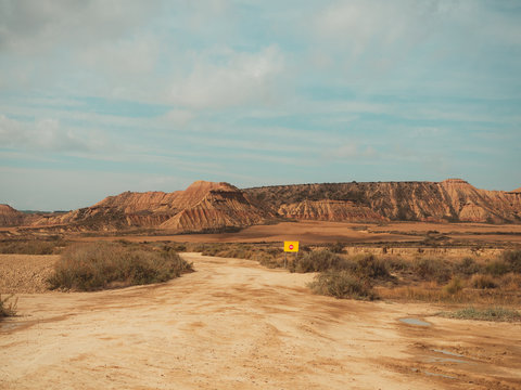 Forbidden road sign in the Bardenas Desert