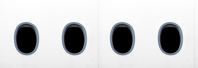 modern airplane window of passenger cabin isolated on white fuselage side exterior wide view. Aircraft windows closeup detailed design reference with black glass. Plane parts panorama photo